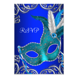Silver Royal and Teal Blue Masquerade Party RSVP Custom Invites