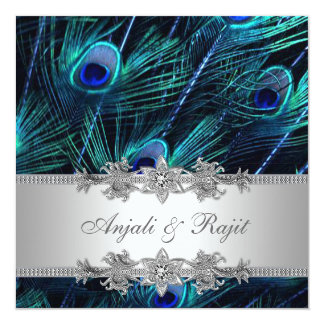 Silver Royal Blue Peacock Wedding 13 Cm X 13 Cm Square Invitation Card
