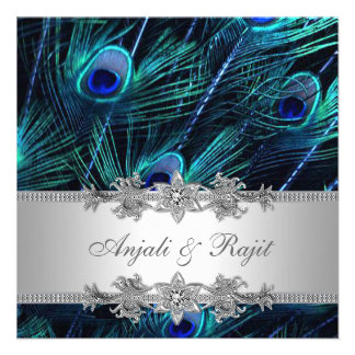 Silver Royal Blue Peacock Wedding Personalised Invitations