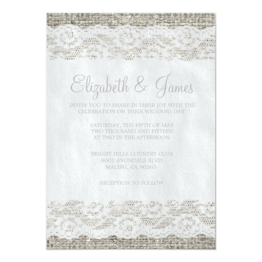 Silver Rustic Lace Wedding Invitations