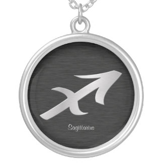 Silver Saggitarius Zodiac Symbol Silver Plated Necklace