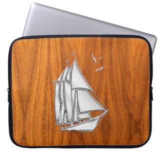 Silver Sail Boat on Teak Veneer Decor Computer Sleeves