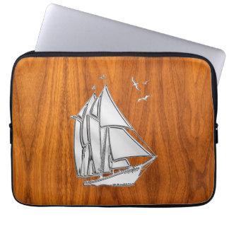Silver Sail Boat on Teak Veneer Decor Laptop Sleeve