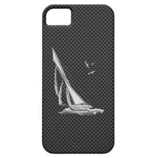 Silver Sailboat Regatta on Carbon Fiber Case For The iPhone 5