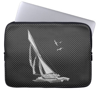Silver Sailboat Regatta on Carbon Fiber Laptop Sleeve