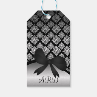 Silver Satin Damask black swirl Ribbon bow tag