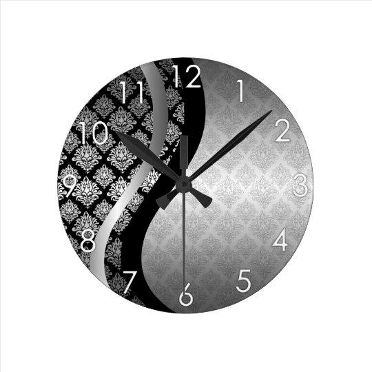 Silver Satin Damask black swirl Round Clock