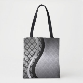 Silver Satin Damask black swirl Tote Bag