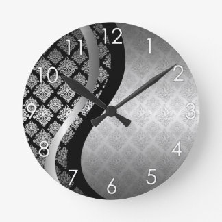 Silver Satin Damask black swirl Wall Clock
