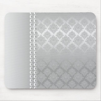 Silver Satin Damask White Pearls Fabric padfolio Mouse Mat