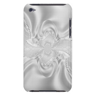 Silver Satin Damask White Pearls Fabric Plush Barely There iPod Cases