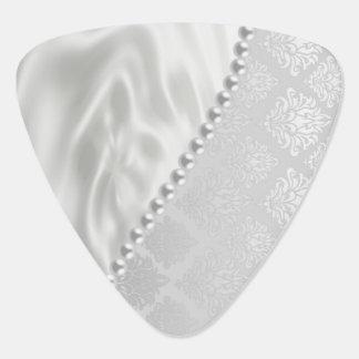 Silver Satin Damask White Pearls Fabric Plush Plectrum