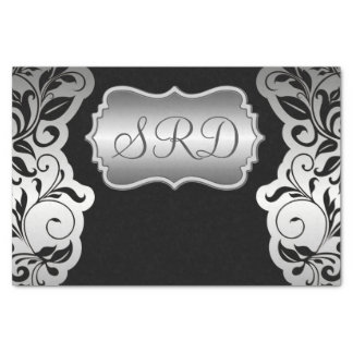 Silver Satin Flourish black & grey personalise Tissue Paper