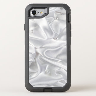 Silver Satin White Pearls Fabric Lush OtterBox Defender iPhone 7 Case