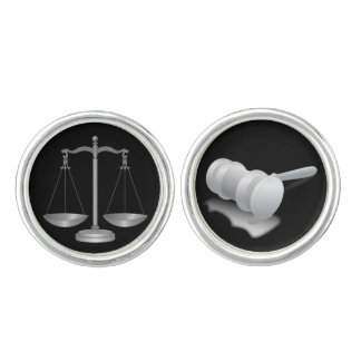 Silver Scales of Justice and Gavel Cufflinks