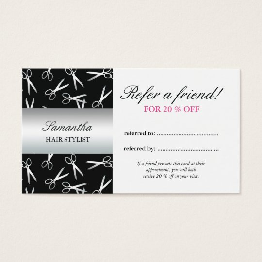 Silver Scissors | Refer a Friend Business Card