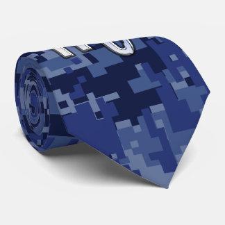 Silver Scorpio Zodiac Sign on Blue Camo Tie