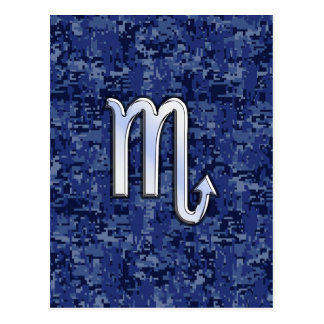 Silver Scorpio Zodiac Sign on Navy Blue Camo Postcard