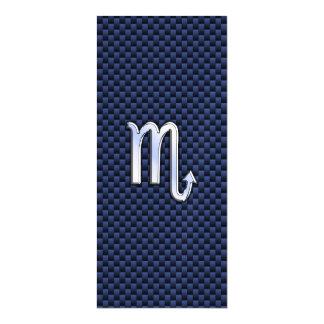 Silver Scorpio Zodiac Symbol Navy Carbon Fiber Magnetic Invitations