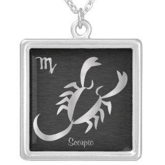 Silver Scorpio Zodiac Symbol Square Pendant Necklace