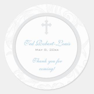 Silver Scroll Cross Address Label Favor Sticker