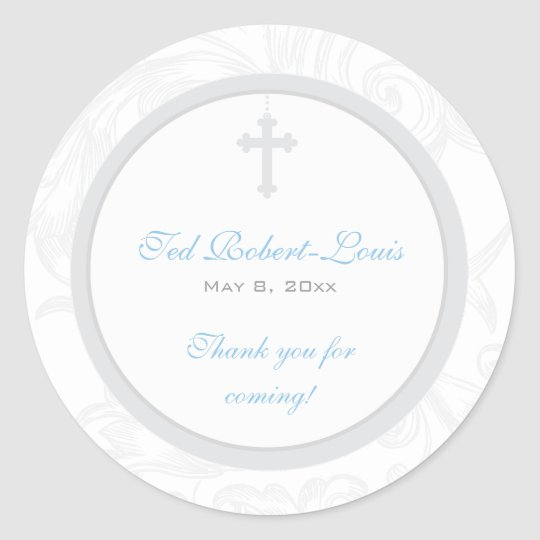 Silver Scroll Cross Address Label/Favour Sticker