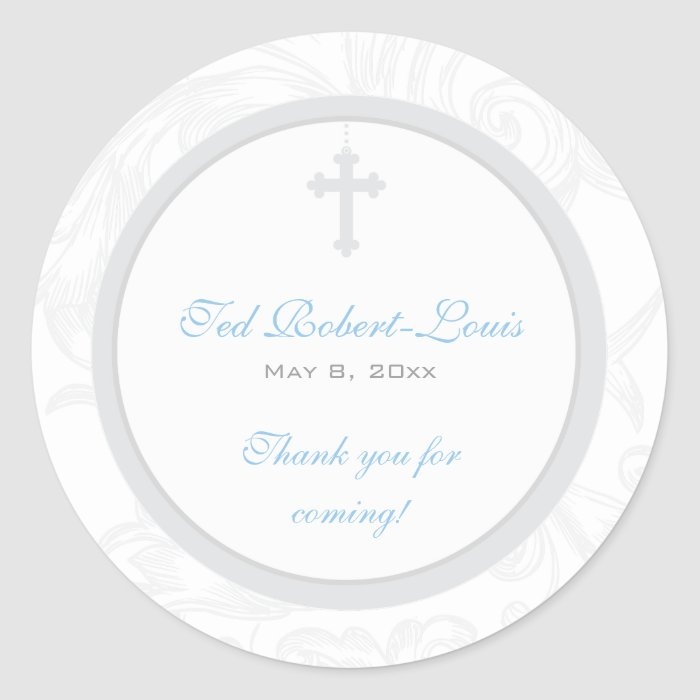 Silver Scroll Cross Address Label/Favour Sticker
