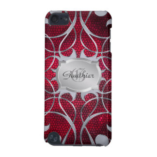 Silver Scroll Heart Red Stained Glass Ipod Case iPod Touch 5G Cases