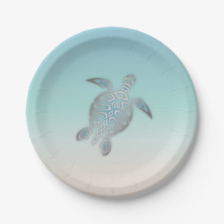 Silver Sea Turtle  Beach Style Paper Plate