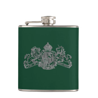 Silver Secret British Agent 007 Bond Coat of Arms Flasks