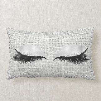 Silver Sequin Glitter Black Glam Makeup Lashes1 Lumbar Cushion
