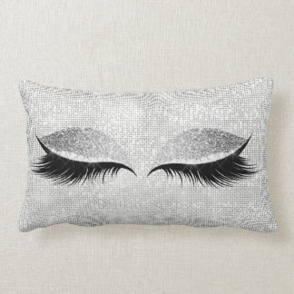 Silver Sequin Glitter Black Glam Makeup Lashes Lumbar Cushion
