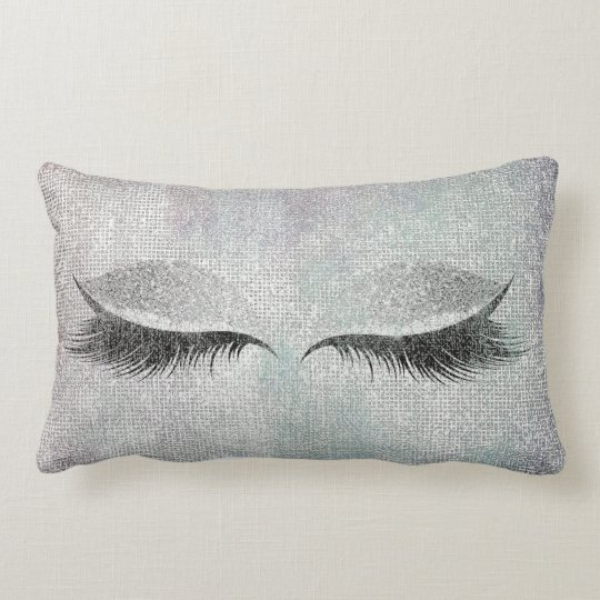 Silver Sequin Glitter Black Painting Makeup Lashes Lumbar