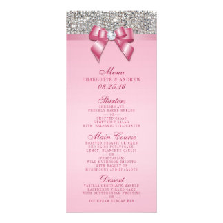 Silver Sequin Pink Bow Wedding Collection Menu Custom Rack Card