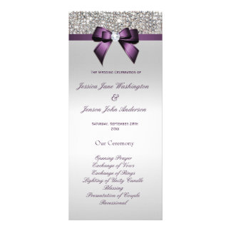 Silver Sequin Purple Bow Wedding Program Full Color Rack Card