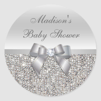 Silver Sequins Bow Baby Shower Stickers