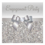 Silver Sequins Bow Diamond Engagement Party Invite