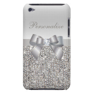 Silver Sequins, Bow & Diamond Personalized iPod Touch Case