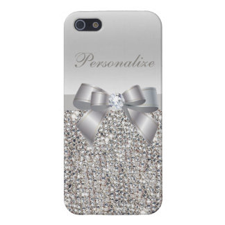 Silver Sequins, Bow & Diamond Personalized Case For iPhone 5/5S
