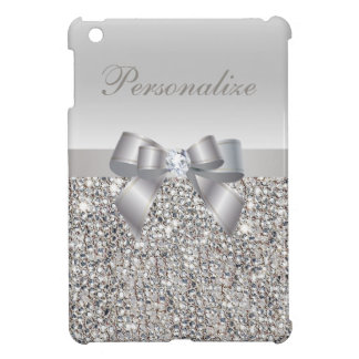 Silver Sequins, Bow & Diamond Personalized iPad Mini Covers