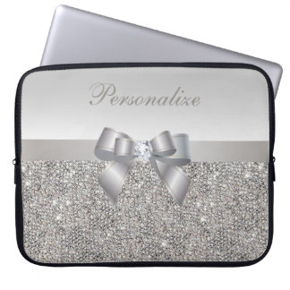 Silver Sequins, Bow & Diamond Personalized Laptop Computer Sleeves