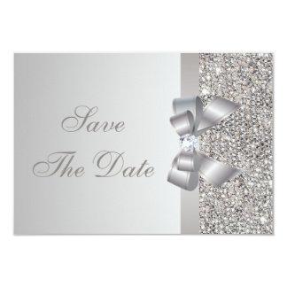 Silver Sequins, Bow & Diamond Save the Date 9 Cm X 13 Cm Invitation Card