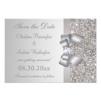 Silver Sequins, Bow & Diamond Save the Date Personalized Invitation
