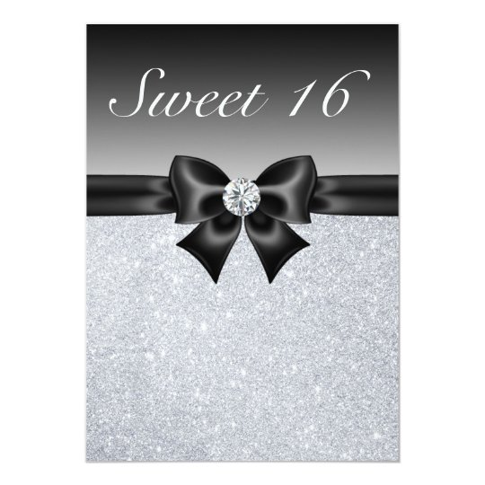 Silver Sequins, Bow & Diamond Sweet 16 Invites