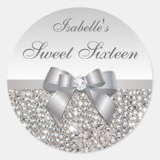 Silver Sequins Bow Diamond Sweet Sixteen Round Sticker