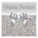 Silver Sequins Bow Diamond Wedding Invites