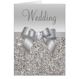 Silver Sequins, Bow & Diamond Wedding Invites Card