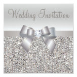 Silver Sequins, Bow & Diamond Wedding Invites 13 Cm X 13 Cm Square Invitation Card