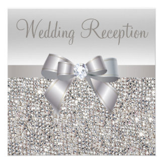 Silver Sequins Bow Diamond Wedding Reception Invites
