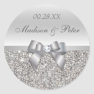 Silver Sequins Bow Wedding Favor Stickers